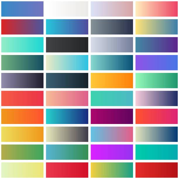 gradient swatches collection - цветовой градиент stock illustrations