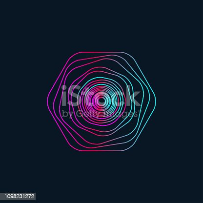 Electro music round wave, geometric gradient abstract graphic design element, isolated gradient wavy circle. Vector illustration