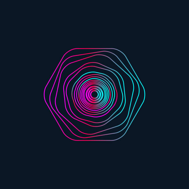gradient wavy circle Electro music round wave, geometric gradient abstract graphic design element, isolated gradient wavy circle. Vector illustration electro music stock illustrations