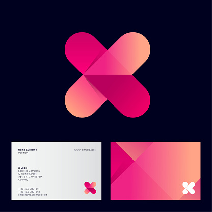 Gradient X monogram. Letter X with arrow logo, isolated on a black background.