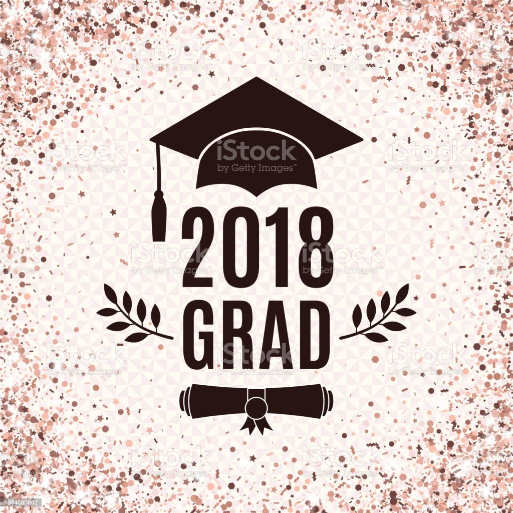 graduate 2018 class of rose gold greeting card with hat scroll and