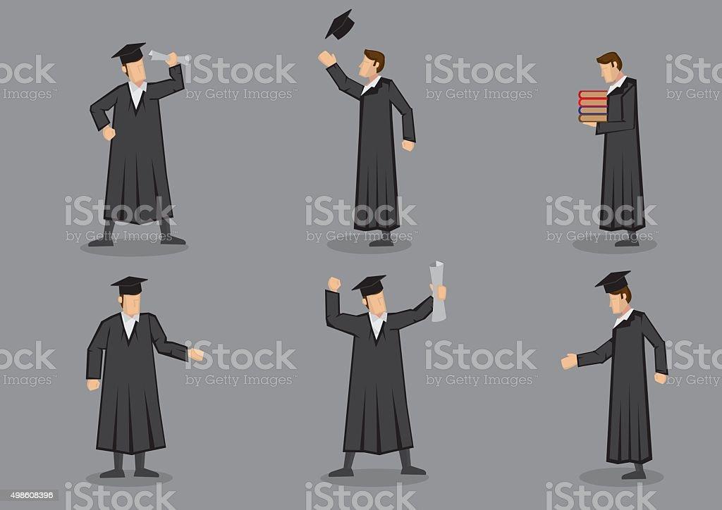 Graduate and Graduation Vector Icon Set vector art illustration