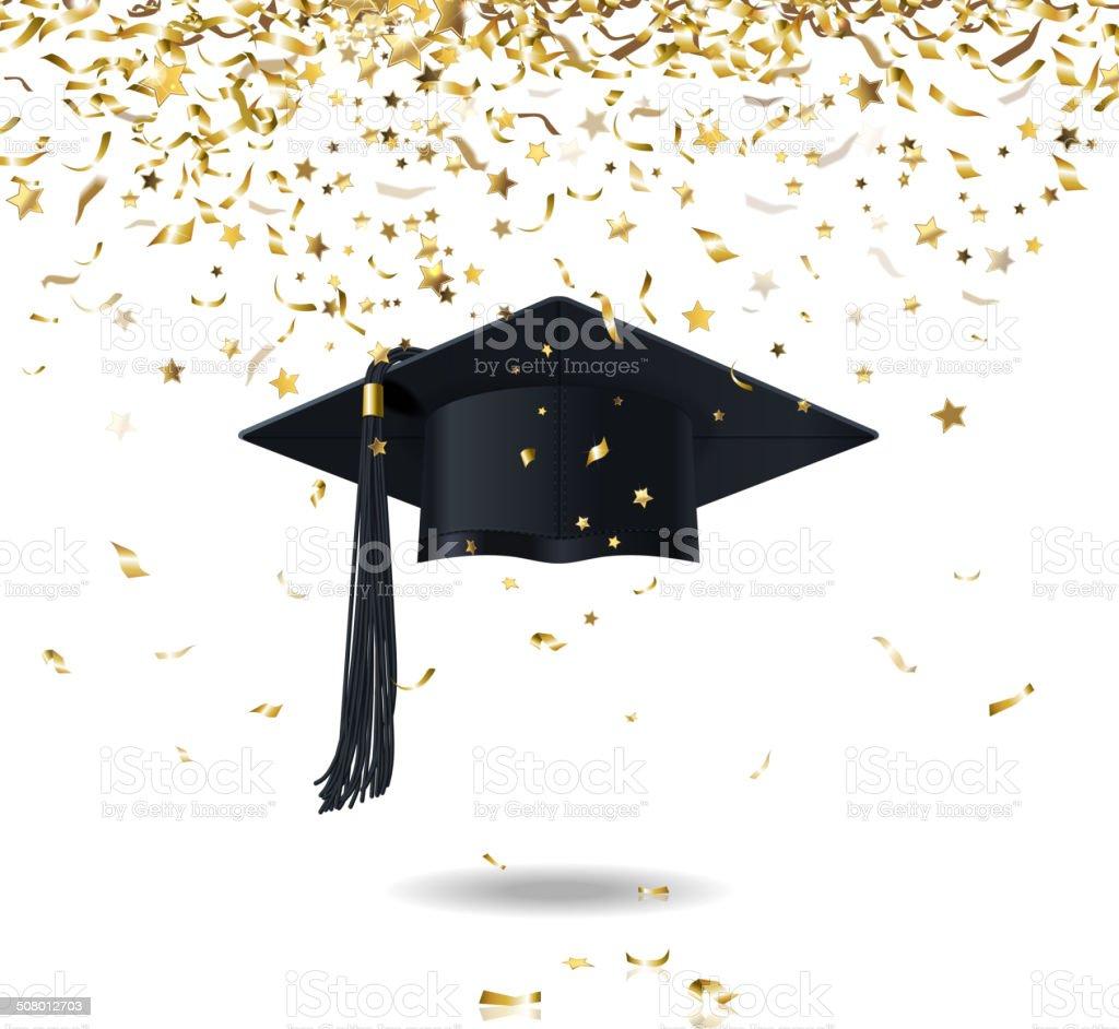 De pós-graduação e Confete - ilustração de arte em vetor
