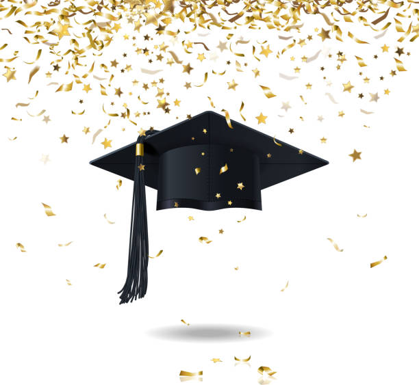 graduate cap and confetti vector art illustration