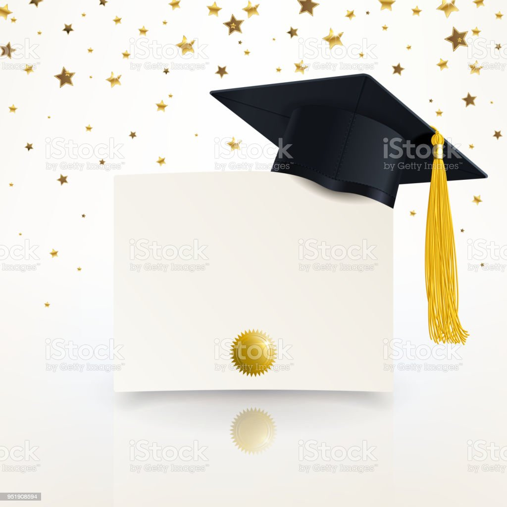 Graduate Cap and Diploma of Graduation vector art illustration