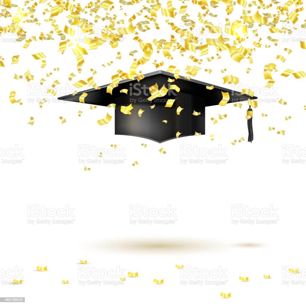 Graduate tapa y golden confeti sobre un fondo blanco. Vector de - ilustración de arte vectorial