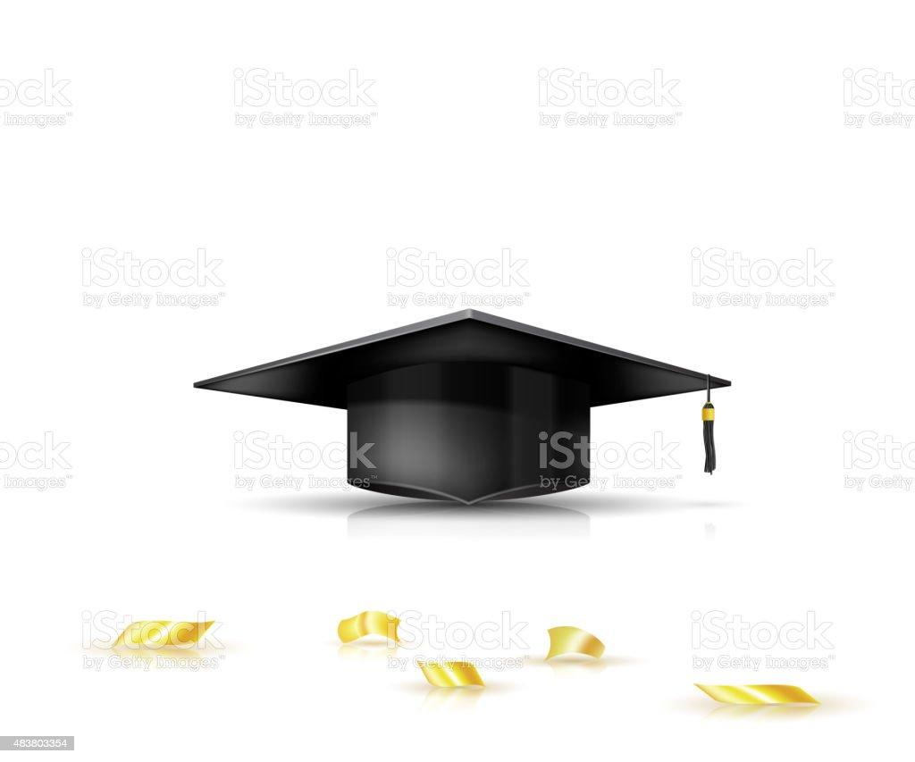 Graduate tapa y golden confeti. Ilustración vectorial - ilustración de arte vectorial