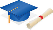 Vector illustration of a blue graduate's cap and new rolled up diploma.  Congrats, grad! :)