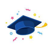 Graduate cap flying in air with confetti, graduation celebration isolated illustration. Flat cartoon style vector icon.