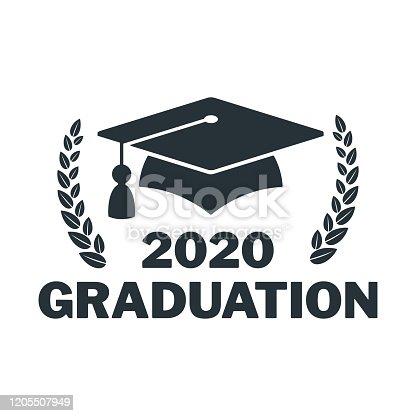 istock Graduate cap logo. University mortarboard. 1205507949