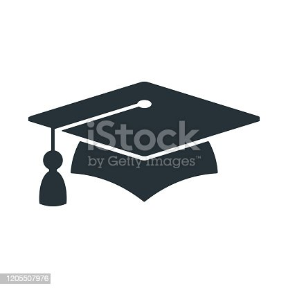 Graduate cap black logo. University mortarboard. Badge for banner, poster or flyer for Graduation party. Congratulation with Scientific degree, academic title. Trendy flat vector style.