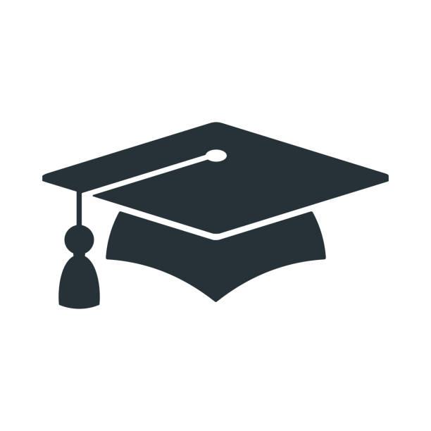 stockillustraties, clipart, cartoons en iconen met graduate cap logo. universiteitsmortieren. - mortelplank