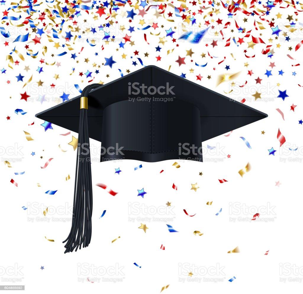 Graduate Cap on a Background of Multicolor Confetti - ilustración de arte vectorial