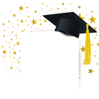 Graduate Cap with  Diploma on a Background of a Gold Stars