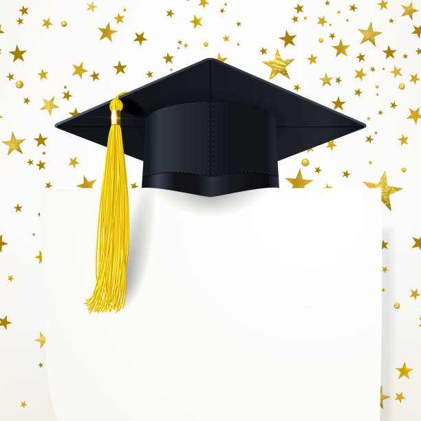 Graduate Cap with  Diploma on the Background of Gold Stars graduate cap with a gold tassel and diploma on the background of gold stars tassel stock illustrations