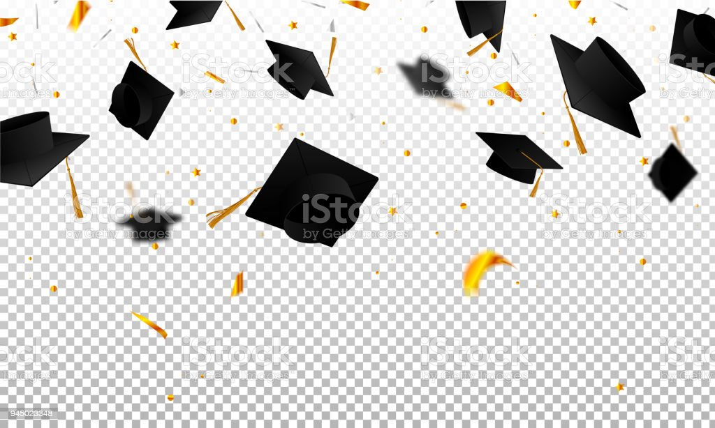 Graduate caps and confetti on a transparent background. Caps thrown up. Invitation card with diplomas. vector art illustration