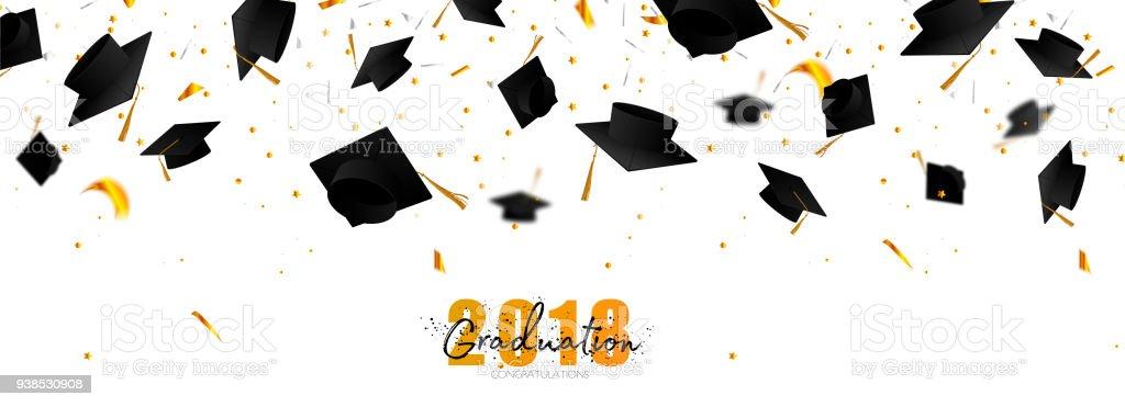 Tampões de pós-graduação e confetes sobre um fundo branco. Tampas levantadas. Tipografia, saudação, cartão do convite com diplomas, chapéu, rotulação. - ilustração de arte em vetor
