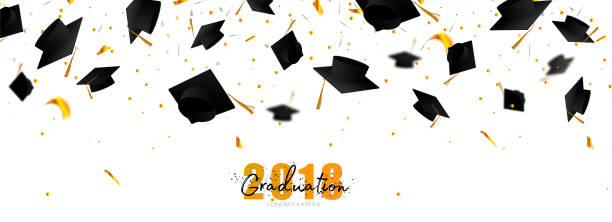 Graduate caps and confetti on a white background. Caps thrown up. Typography greeting, invitation card with diplomas, hat, lettering. vector art illustration