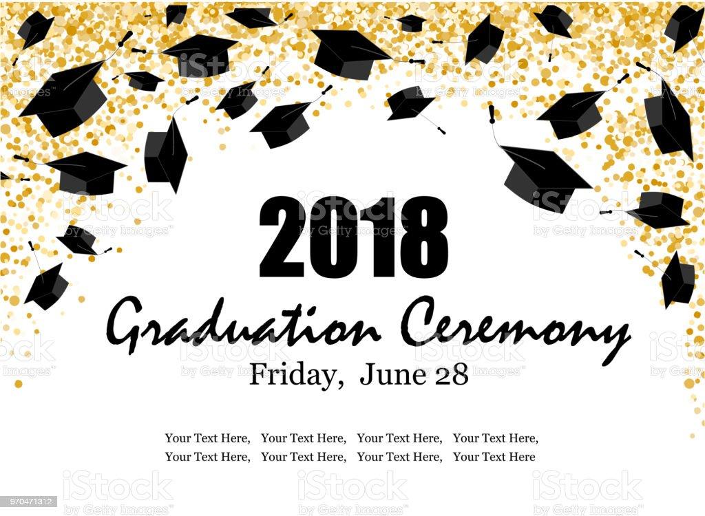 graduate caps and the gold confetti banner stock vector art more