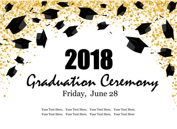 Graduate caps and the gold confetti banner vector art illustration
