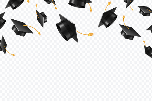 Graduate caps flying. Black academic hats in air. Education isolated vector concept