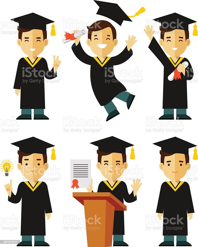 Graduate character set vector art illustration