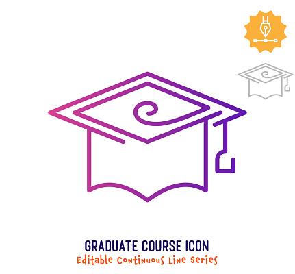 Graduate Course Continuous Line Editable Icon