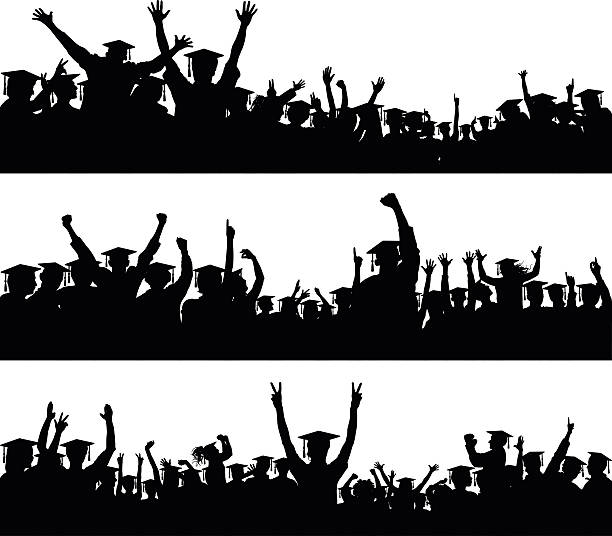 Graduate Crowd (People Are Moveable and Complete to the Waste) vector art illustration