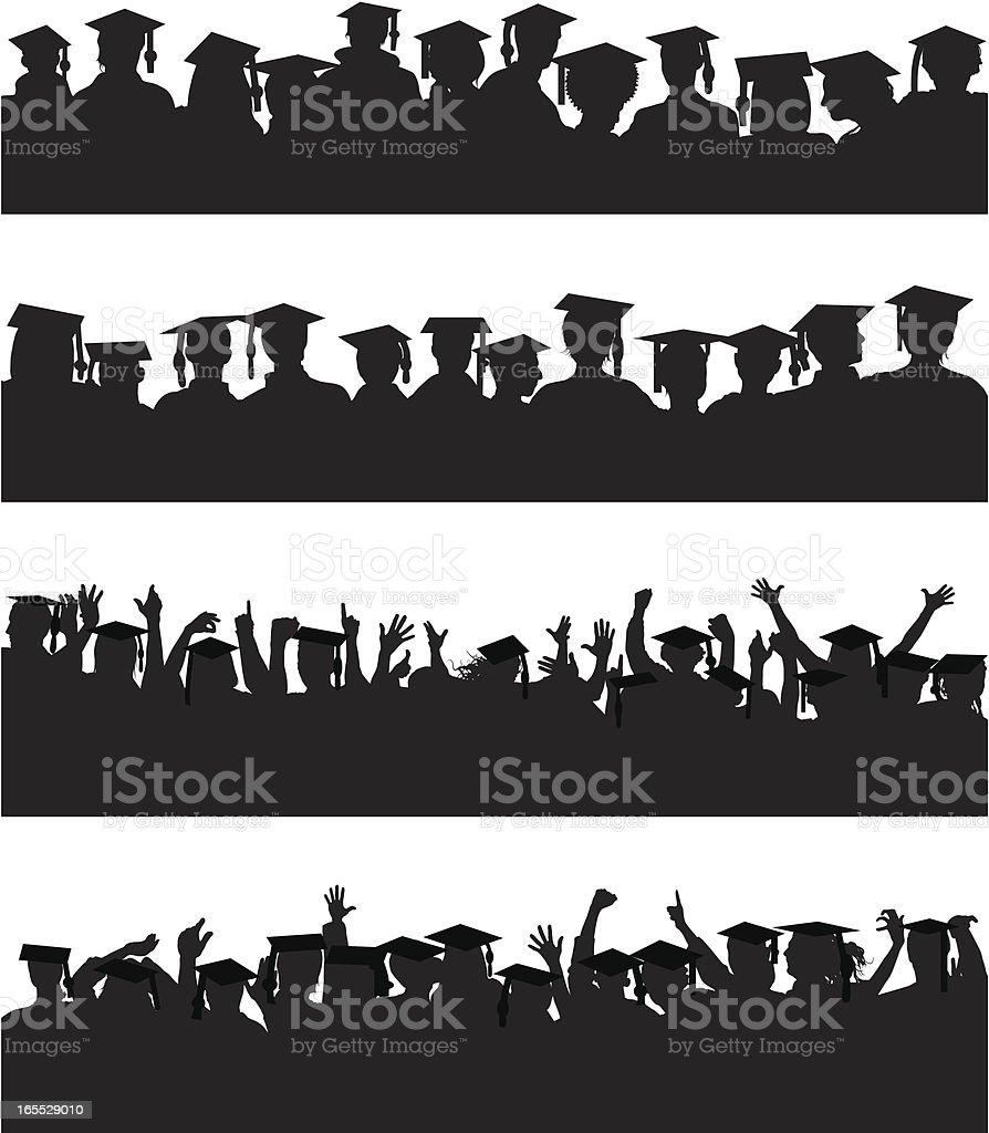 Graduate Crowds vector art illustration