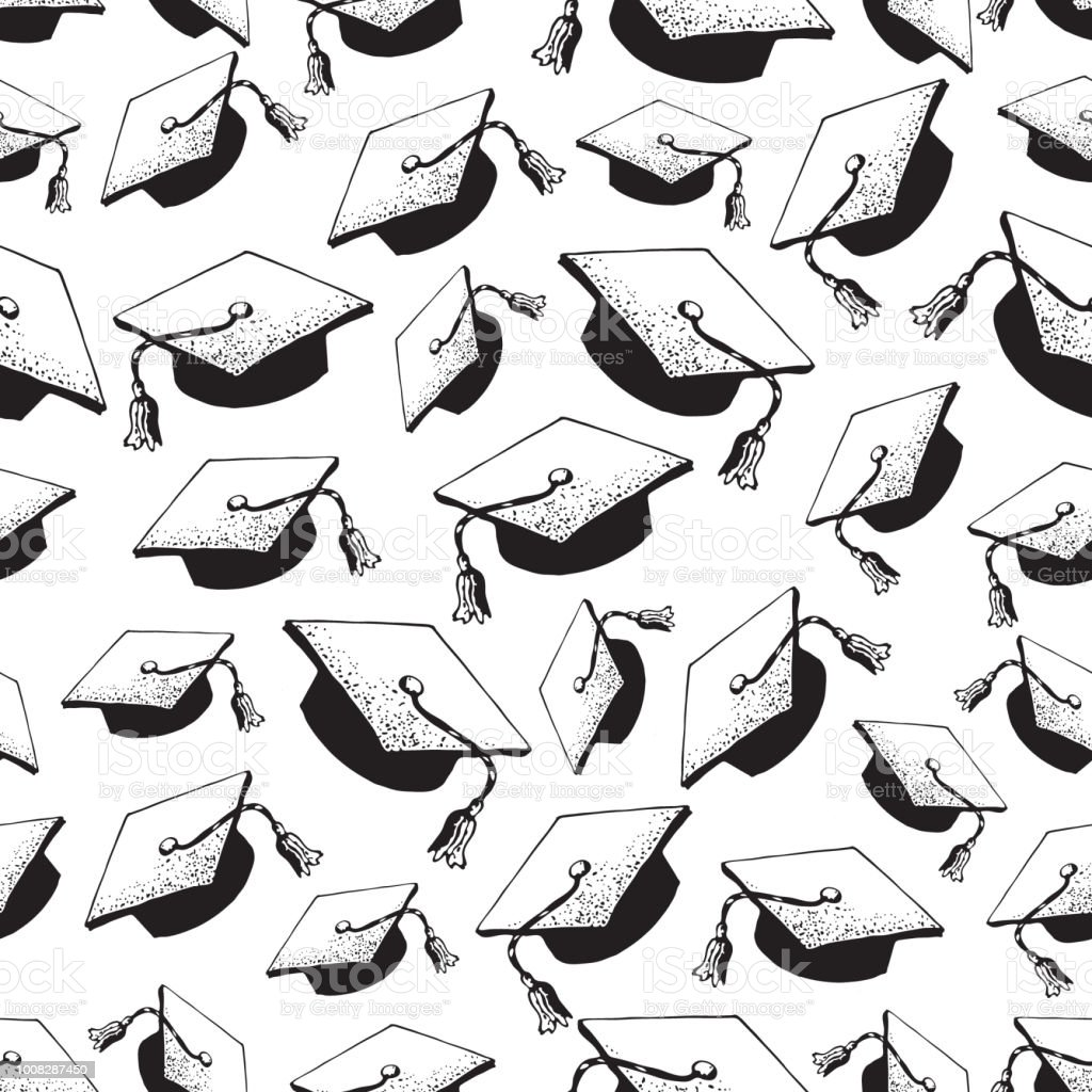 Ilustración de Graduado De Doodle De Patrones Sin Fisuras Sombrero ...