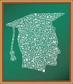 graduate educational icon on chalkboard