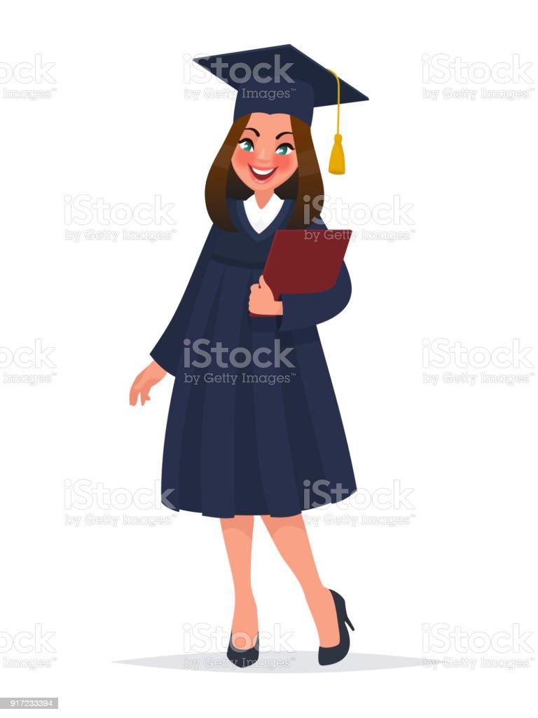 Ilustración De Niña Graduada En Manto Con Diploma