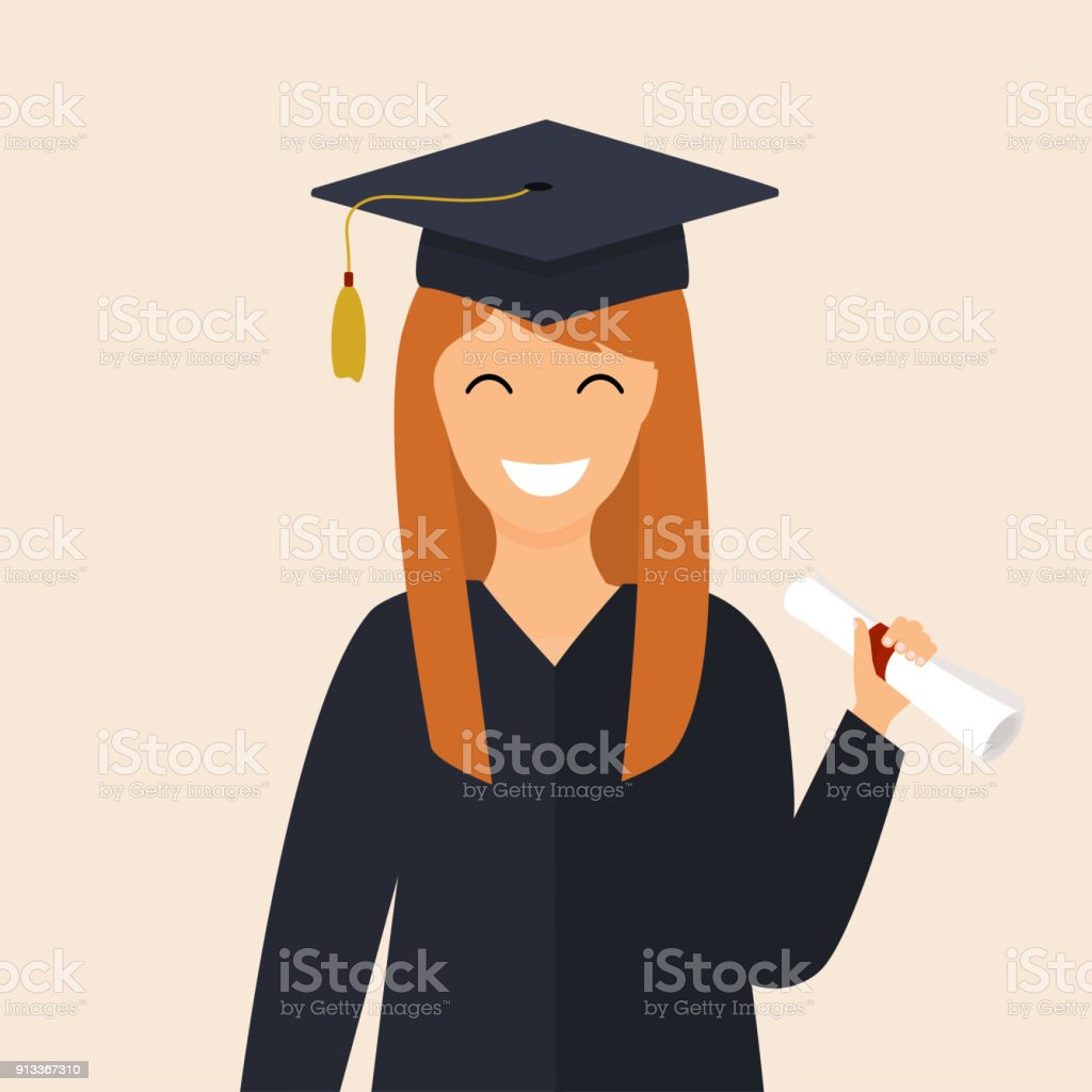 Graduate Girl In The Mantle Keeps In Hands Diploma