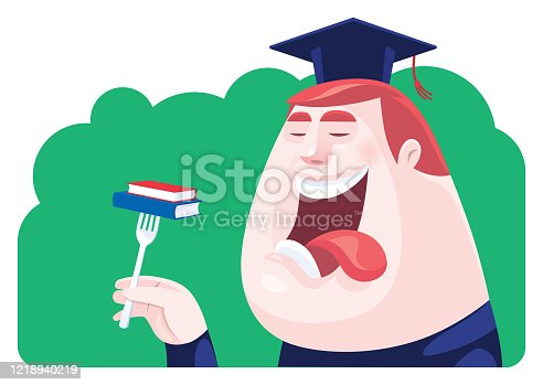 istock graduate going to eat books 1218940219