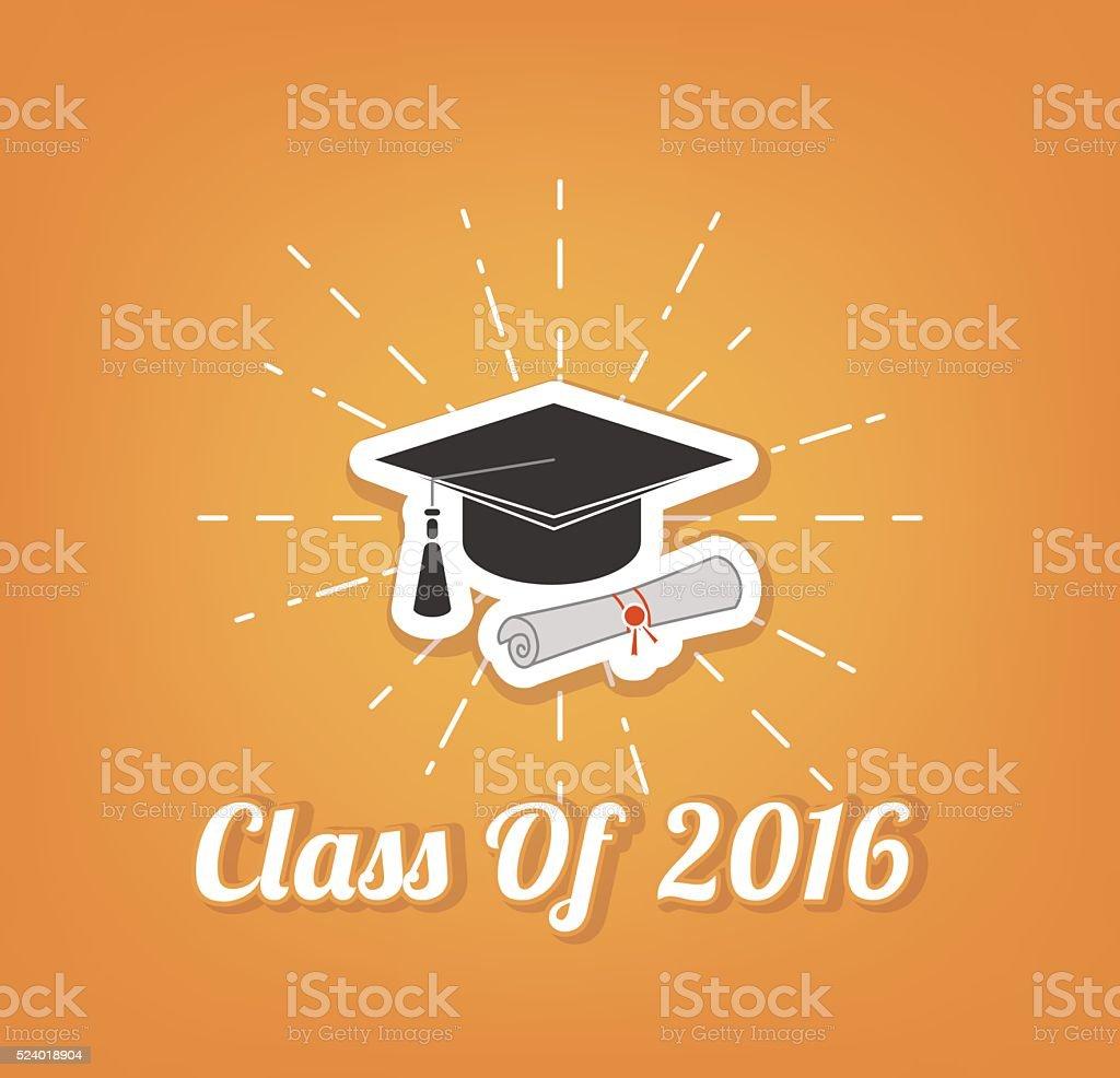 Sombrero de posgrado. Graduaciones. Clase de 2016 - ilustración de arte vectorial