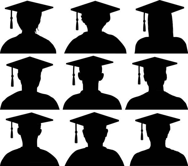 Graduate Heads and Shoulders vector art illustration