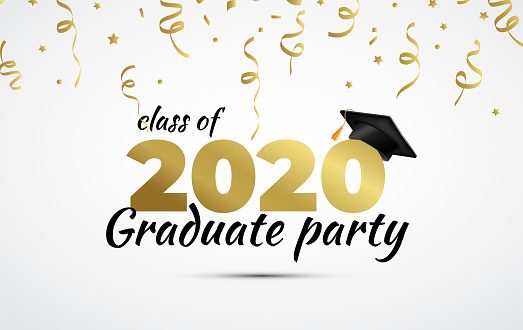2020 Graduate Party. Class of 2020. Graduation cup and confetti. Vector