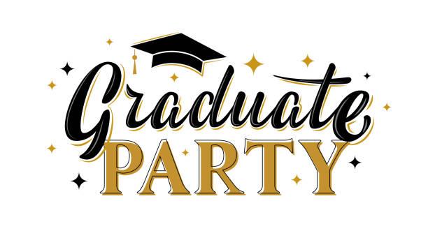 Absolventen-Party-Grußzeichen mit goldenen Sternen. – Vektorgrafik