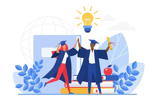 Graduate people celebrate vector illustration, cartoon flat tiny group of happy graduating students characters celebrating graduation, holding school diploma