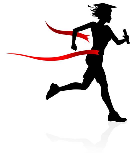 graduate race finish line education concept - finish line stock illustrations, clip art, cartoons, & icons