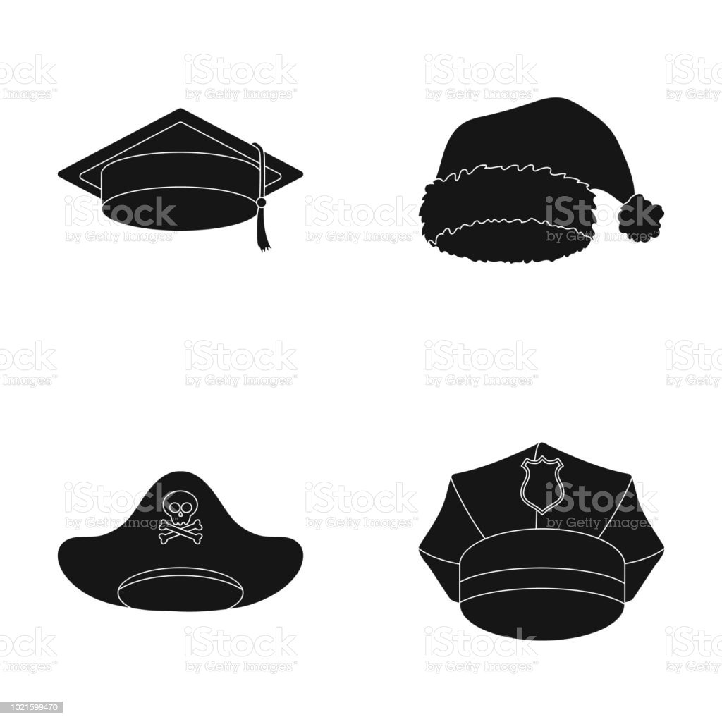 4ac5d4e40d0 Graduate Santa Police Pirate Hats Set Collection Icons In Black ...
