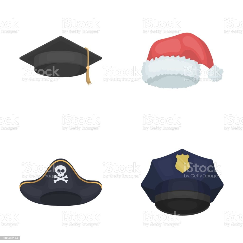Graduate, santa, police, pirate. Hats set collection icons in cartoon style vector symbol stock illustration web. royalty-free graduate santa police pirate hats set collection icons in cartoon style vector symbol stock illustration web stock vector art & more images of christmas