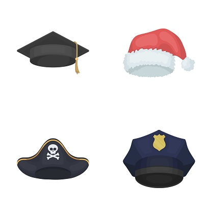 Graduate Santa Police Pirate Hats Set Collection Icons In Cartoon Style Vector Symbol Stock Illustration Web Stock Illustration - Download Image Now