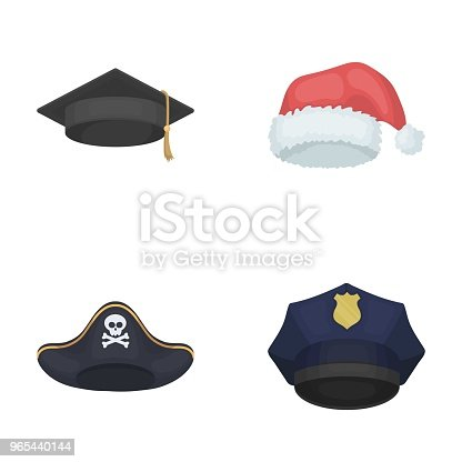 Graduate Santa Police Pirate Hats Set Collection Icons In Cartoon Style Vector Symbol Stock Illustration Web Stock Vector Art & More Images of Christmas 965440144