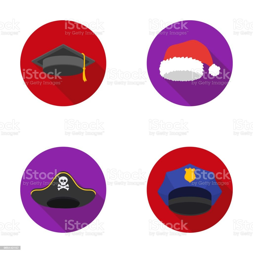 Graduate, santa, police, pirate. Hats set collection icons in flat style vector symbol stock illustration web. royalty-free graduate santa police pirate hats set collection icons in flat style vector symbol stock illustration web stock vector art & more images of christmas