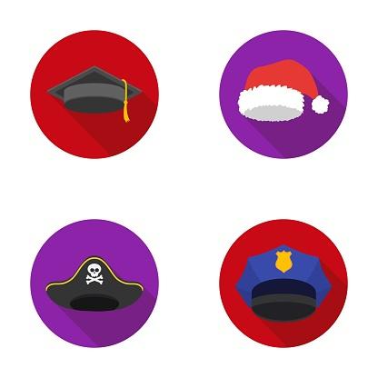 졸업 산타 경찰 해 적입니다 모자는 플랫 스타일 벡터 기호 재고 일러스트 웹에서 컬렉션 아이콘을 설정합니다 개인 장식품에 대한 스톡 벡터 아트 및 기타 이미지