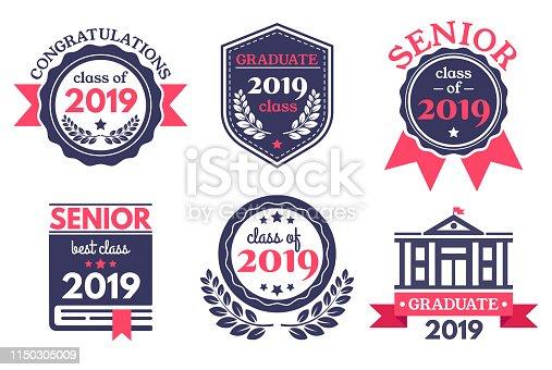 Graduate senior school badge. Graduation day emblem, graduates congratulations badges and education emblems. 2019 seniors college academy diploma logo. Vector illustration isolated symbols set
