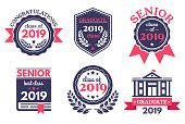 Graduate senior school badge. Graduation day emblem, graduates congratulations badges and education emblems vector illustration set
