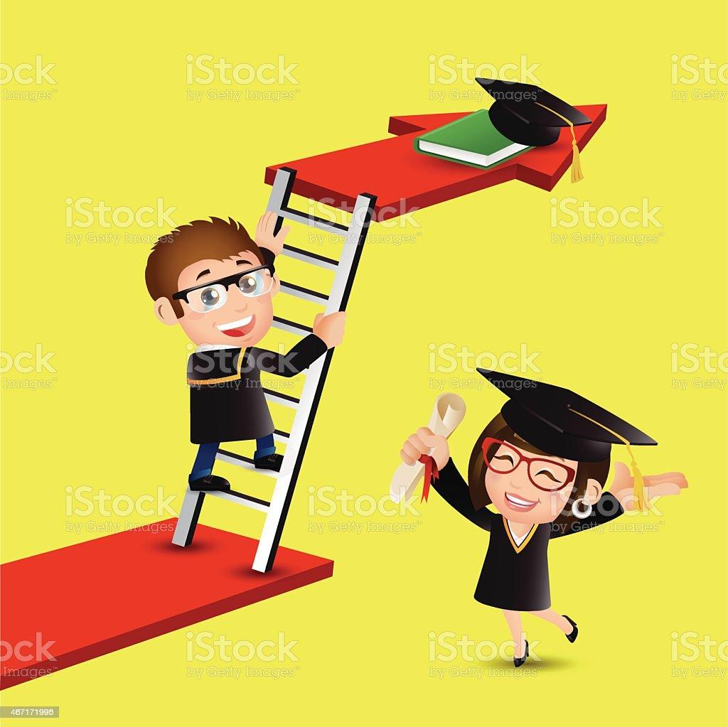 Graduate Student Climbing On Ladder To Reach Graduate Cap Stock ... for Student Climbing Ladder  35fsj