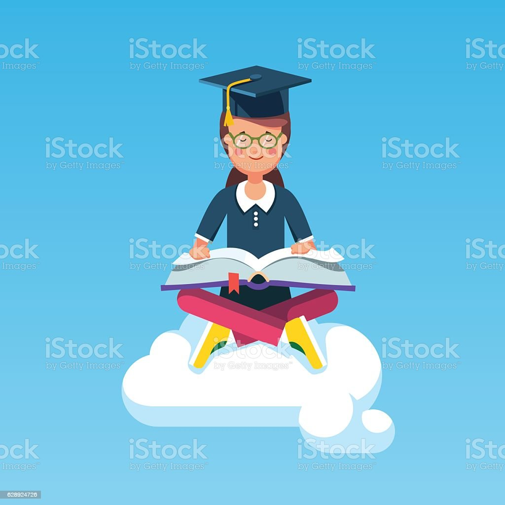 graduate student girl sitting on a cloud with book 1人のベクター